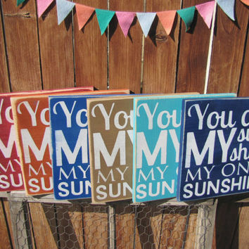 Ready to Ship You Are My Sunshine My Only Sunshine Wooden Distressed Subway Art Sign Wall Hanging