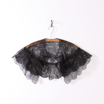 Victorian Black LACE COLLAR / Wide Shawl Scalloped Net CAPELET