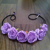 Purple Rose Flower Headband, Flower Crown, Flower Halo, Festival Wear, EDC, Coachella, Ezoo,Ultra Music Festival, Rave