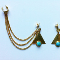 Tribal Ear Cuff Earrings- Turquoise, Gold Triangles