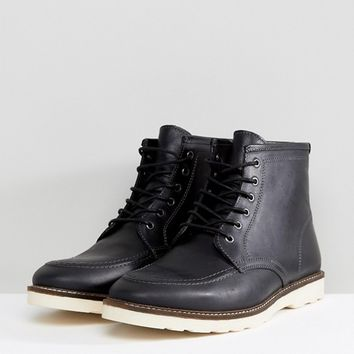 ASOS Wide Fit Lace Up Boots In Black Leather With White Sole at asos.com