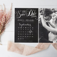 Chalkboard Calendar Save the Date Postcard, Photo Calligraphy Calendar Save the Dates Photo Card, DIY Printable Photo Save the Date Postcard