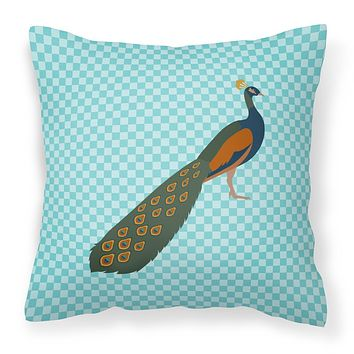Indian Peacock Peafowl Blue Check Fabric Decorative Pillow BB8099PW1414