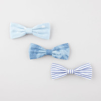 Full Tilt 3 Piece Chambray Bow Hair Clips Chambray One Size For Women 26365522401