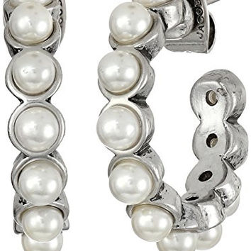 Marc Jacobs Pearl Cabochon Hoop Earrings