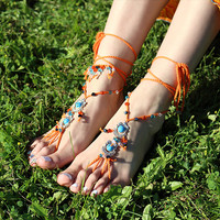 Hippie barefoot sandals Boho foot jewelry Yoga