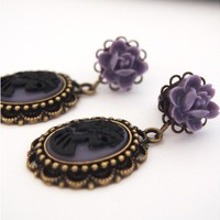 6g 4mm Purple Black Skull Lady Dangle Plugs - Shop Gauges/Plugs & Tunnels at RebelsMarket