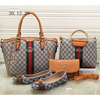 GUCCI new female counter models stylish four-piece Messenger bag F-KSPJ-BBDL brown