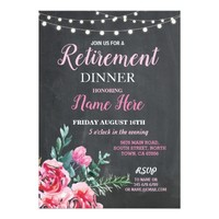 Retirement Dinner Party Women's Flower Pink Invite