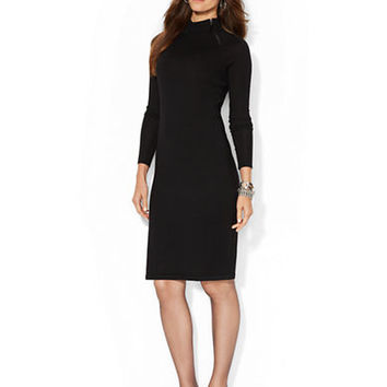 Lauren Ralph Lauren Merino Wool Moto Dress