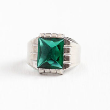 Vintage Sterling Silver Simulated Emerald Ring - Retro Size 7 3/4 Green Glass Stone Statement Signed Uncas U Arrow May Birthstone Jewelry