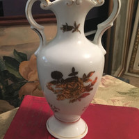 Vintage Kalk German porcelain Vase with 2 curved handles, Gold Embossed Floral Design, 8 inch vase, German Flower Vase, Crossed Arrows