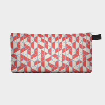 Red Geometric Pencil Case Pouch