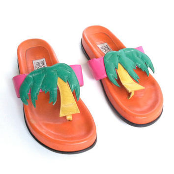 90's Neon Palm Trees Graphic Leather Sandals