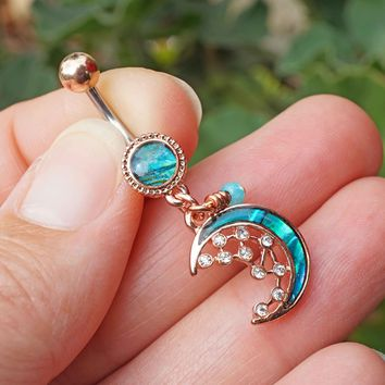 MOP Crescent Moon and Stars Rose Gold Belly Button Ring