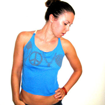 LOVE Print Blue Tank, Feather Tank Top, Upcycled Tank, Festival Tank, Braided Straps Tank, Surfer Tank, Beach Tank, Peace Love Top, Lace