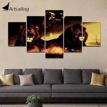 Decorative Painting 5 Piece HD Printed bob marley with lion Painting Canvas Print Room Decor Poster Picture Canvas Art