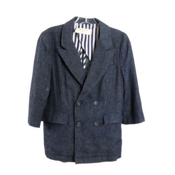Marni Blue Cotton Linen Double Breasted Jacket 3/4 Sleeve Size XS