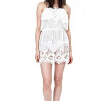 Dylan Scallop Lace Dress in Pure White - Cover-ups