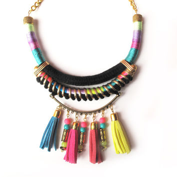 Statement necklace tribal necklace neon jewelry  pom poms tassels colorful