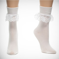Mary Jane Ruffle White Socks