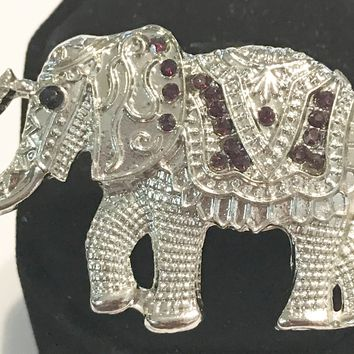 Large African Style Elephant Silver / Brown Adjustable Ring