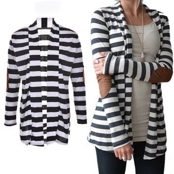 Black   White Striped Elbow Patching PU Leather Long Sleeve Knitted Cardigan Slim Women Sweater SM6
