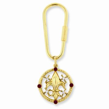 Gold-tone Blessed Flower of the Lily Key Fob - Perfect Religious Gift