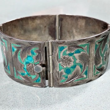 Vintage Silver Inlaid Turquoise Sterling Bracelet Wide Panel Bracelet Signed Sterling Mexico 925 R.S.S Etched Design Two Colors of Turquoise