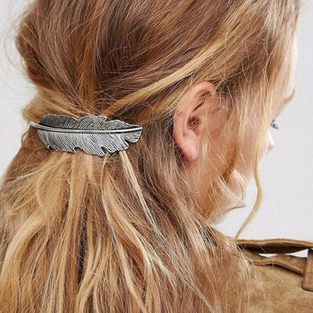 Women Vintage Hairpins Hair Clip Feather Jewelry Accessories Retro Silver Plated Bohemian Boho Statement Hair Barrettes Comb