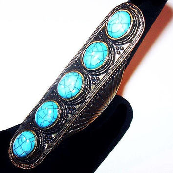 Turquoise 5 Stone Silver Ring Long Statement Ring Sz 7 Vintage Fashion
