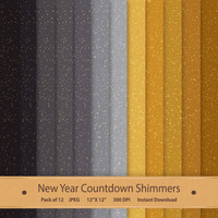 New Year Countdown Shimmery Digital Paper Scrapbook Pages Glitter Texture Gold Shimmer Silver Printable Backdrop Art Commercial Background