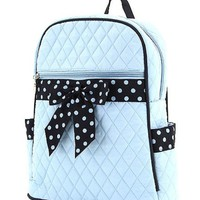 Belvah Quilted Solid Large Backpack with Polka Dot Ribbon (BBL/Navy)