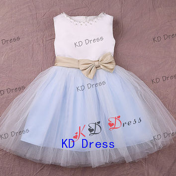 On Sale Cute Tulle Skirt Ivory Satin Flower Girl Dress Toddler Birthday Party Dress with Sash/Bow