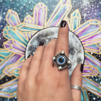 Sterling Silver Evil Eye Ring Size 6