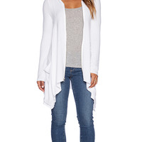 Michael Lauren Casper Draped Zip Hoodie in White