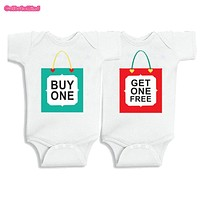 Twins Baby Bodysuits clothes Christmas Gift Buy one Get one free Baby Boy Girl Clothes Cute Baby Twins matching outfits0-12M