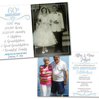 60th Diamond Anniversary Invitation - Then and Now Photo 60th Wedding Anniversary Invitations - 60th Anniversary Vow Renewal Blue Milestone