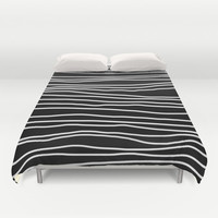 Duvet Cover - Black and White Striped - Bed Cover - Duvet Cover Only - Bed Spread - Made to Order