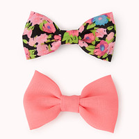 Vibrant Floral Bow Hair Clip Set