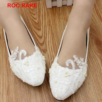 1ca914396b9c2 Big Size 34-43 White Lace Pearls Women Wedding Shoes Custom Heel