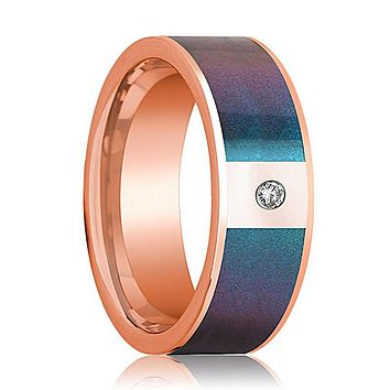 Mens Wedding Band 14K Rose Gold with Blue/Purple Color Changing Inlaid and Diamond Flat Polished Design