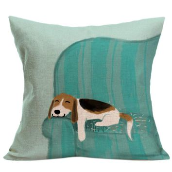 High Quality New Sleeping Dog 45 x 45cm Vintage Cute Dog Pillow Case Sofa Waist Throw Cushion Cover Home Decor Happy Gifts