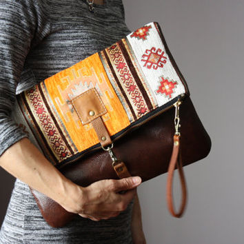 Tapestry bohemian clutch, leather clutch, orange clutch, bohemian bag, cross body bag, brown leather purse, ethnic leather clutch