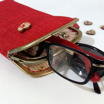 Valentines Double pockets glasses case