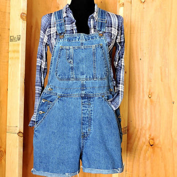 Overall shorts size S / 90s Old Navy denim bib shortalls overalls / medium wash jean bib shorts