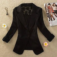 Long Sleeve Lapel Slim  Cut Out Blazer