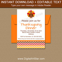 INSTANT DOWNLOAD Thanksgiving Invitation Template - Printable Thanksgiving Baby Shower Invite - EDITABLE Thanksgiving Birthday Invite T3