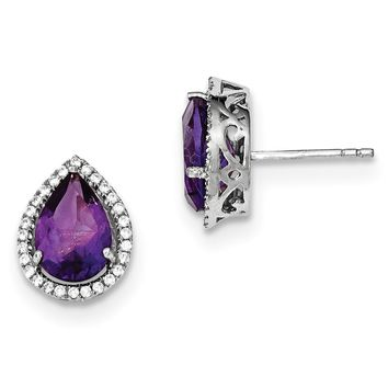 Sterling Silver Genuine Amethyst & CZ Halo Pear Teardrop Post Earrings