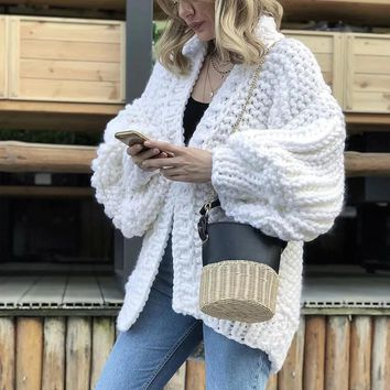 Cashmere Sweater Women Winter Cardigan Hand Knitted Long Sleeve SweaterCardigan Female Thick Pull Femme Sweater Coat